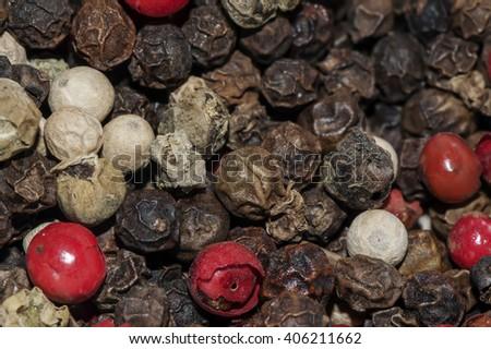 Closeup photo of black and white pepper corns. - stock photo