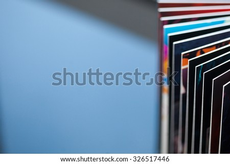 Closeup photo of colored book pages with shallow depth of field and nice copy space - stock photo