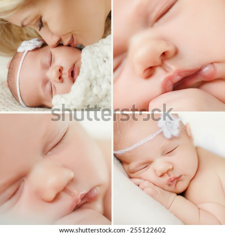 Closeup photo of cute newborn baby lips, face part, adorable child sleeping, day dreaming, carefree lifestyle, innocence concept. Collage - stock photo