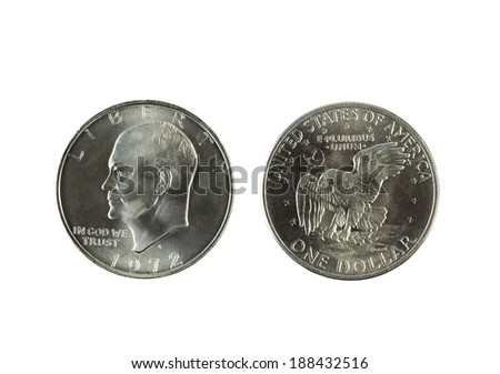 Closeup photo of Eisenhower Silver Dollars, obverse and reverse sides, isolated on white   - stock photo