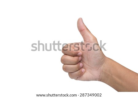Closeup photo of male hand showing thumbs up sign isolated on white background