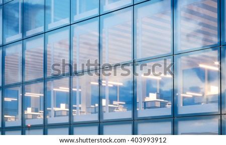 Closeup photo of modern skyscraper interior.Office floor in evening time.Panoramic windows facade background, contemporary business center.Empty workspace. Real horizontal mockup,flares. 3d rendering - stock photo