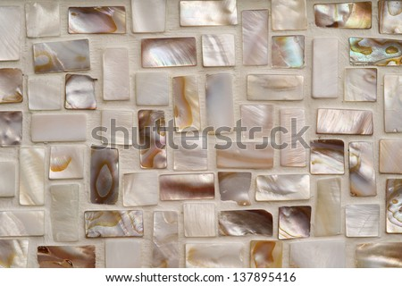 Closeup photo of Mother of pearl mosaic tiles.  - stock photo