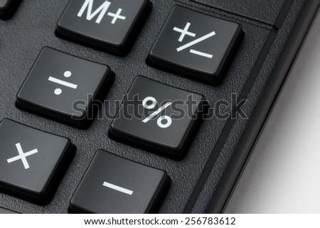 Closeup photo of percent button on calculatror keypad - stock photo