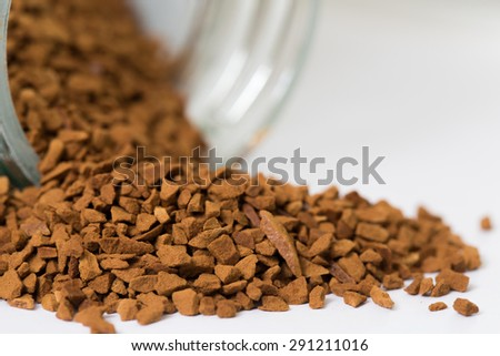 Closeup photo of powdered roasted coffee - selected focus for background   - stock photo