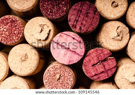 Closeup photo of used wine bottle corks - stock photo