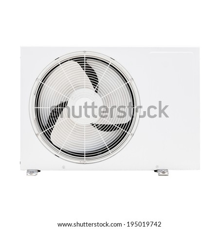 Closeup photo of white outer air conditioner device isolated on white  - stock photo
