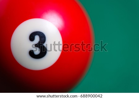 Closeup Photography Of 3 Ball From Pool Or Billiards On A Billiard Table