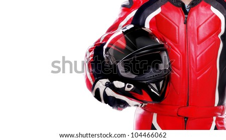 Closeup picture of a biker holding his helmet on white background - stock photo