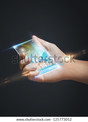 closeup picture of hand holding smart phone - stock photo