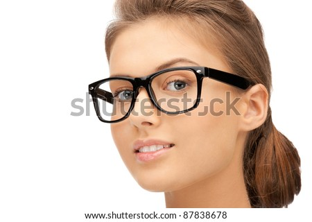 closeup picture of lovely woman in spectacles - stock photo