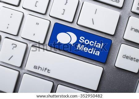Closeup picture of Social Media button of keyboard of a modern computer. - stock photo