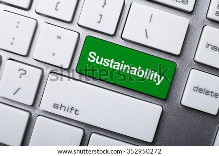 Closeup picture of Sustainability button of keyboard of a modern computer. - stock photo