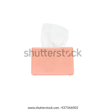 Closeup pink box of toilet paper with white toilet paper isolated on white background with clipping path - stock photo