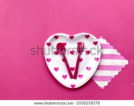 Closeup pink heart printed paper plate and plastic spoon u0026 fork with pink u0026 white striped & Closeup Pink Heart Printed Paper Plate Stock Photo 1018258378 ...