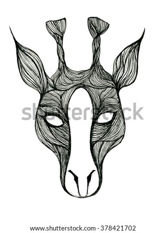 Closeup pleasing black and white cow head pen-and-ink drawing freehand sketch texture paper over white background, vertical picture - stock photo