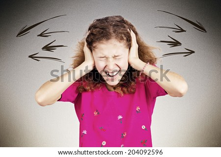 Closeup portrait angry upset, stressed little young girl, having nervous breakdown, screaming isolated black background. Negative human emotion facial expression, feeling attitude, reaction perception - stock photo