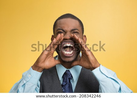 Closeup portrait bitter mad, displeased pissed off, angry grumpy corporate man, open mouth, hands in air, screaming yelling isolated yellow background. Negative human emotion facial expression feeling - stock photo