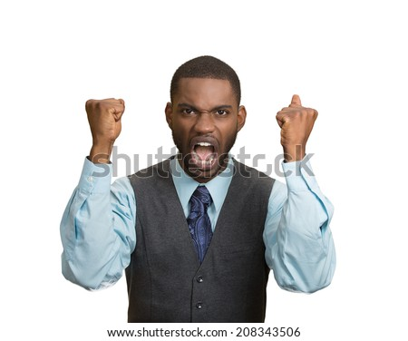 Closeup portrait bitter mad, displeased pissed off, angry grumpy corporate man, open mouth, hands in air, screaming, yelling isolated white background. Negative human emotion facial expression feeling - stock photo