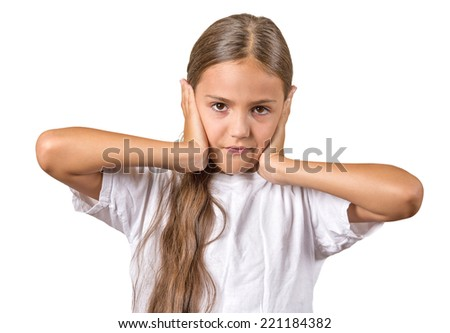 Closeup portrait calm, peaceful, looking relaxed teenager girl covering ears, eyes open, isolated white background. Hear no evil concept. Human emotions, facial expression, attitude, mood, perception  - stock photo