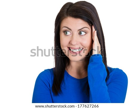 Closeup portrait charming, smiling, joyful happy young woman, looking sideways, palm on cheek daydreaming attracted to someone isolated on white background. Positive emotion facial expression, feeling - stock photo