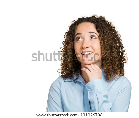 Closeup portrait charming, smiling, joyful, happy, young woman looking upwards, daydreaming something nice, thinking, isolated white background. Positive human emotions, facial expressions, feelings