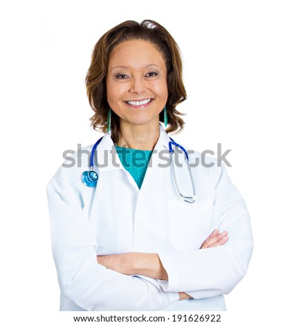 Closeup portrait confident, happy, smiling, senior, female health care professional, doctor, nurse with arms crossed, isolated white background. Positive human emotions, facial expressions, feelings - stock photo