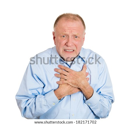Closeup portrait elderly male executive, corporate employee having sudden chest, heart pain, trying catch up air, suffocating, isolated white background. Myocardial infarction, aortic aneurysm rupture - stock photo