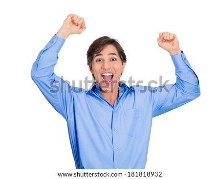 Closeup portrait excited energetic happy, screaming student, business man winning, arms, fists pumped celebrating success isolated white background. Positive human emotion, facial expression, reaction - stock photo