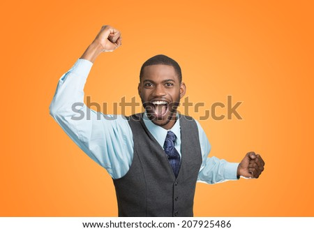 Closeup portrait excited, energetic, happy, screaming student, business man winning, arms, fists hands pumped, celebrating success isolated orange background. Positive human emotion, facial expression - stock photo