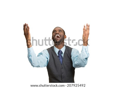 Closeup portrait excited, energetic, happy, screaming student, business man winning, arms, fists, hands pumped celebrating success isolated white background. Positive human emotion facial expression - stock photo