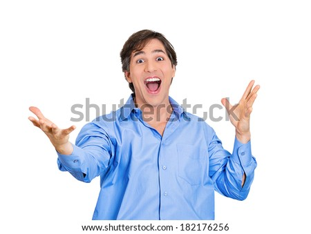 Closeup portrait excited energetic happy, screaming student, business man winning, arms,hands in air celebrating success isolated white background. Positive human emotion, facial expression, reaction
