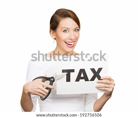 Closeup portrait excited, happy, smiling, energetic, enthusiastic young business woman, funny looking girl, worker, dedicated employee, cutting taxes with scissors, isolated white background. IRS. - stock photo