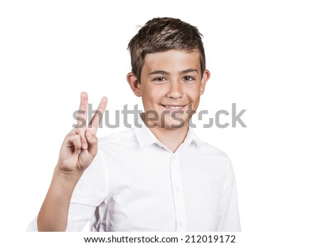 Closeup portrait excited, happy successful young man giving number two, peace, victory sign, isolated white background. Positive emotions, face expression attitude, reaction, perception body language - stock photo