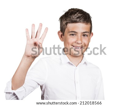 Closeup portrait excited happy young man showing 4 fingers, giving number four sign, isolated white background. Positive emotion face expression feeling attitude, reaction, perception body language - stock photo