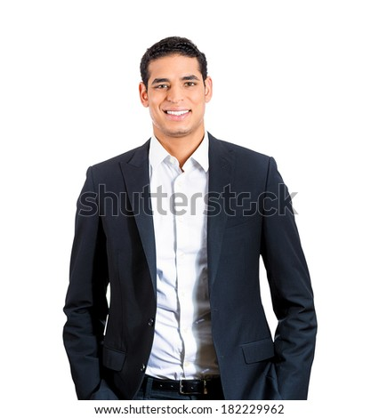 Closeup portrait  handsome happy, young, smiling business man, confident student, real estate agent, entrepreneur, isolated white background. Positive face expressions, emotions, feelings, attitude - stock photo