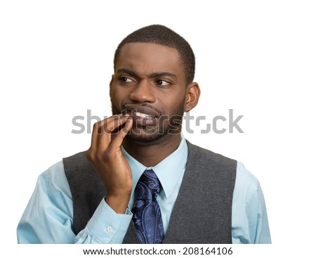 Closeup portrait handsome sad young executive man, student, worker touching face having bad pain, tooth ache, isolated white background. Negative human emotions, facial expressions, feeling reaction - stock photo