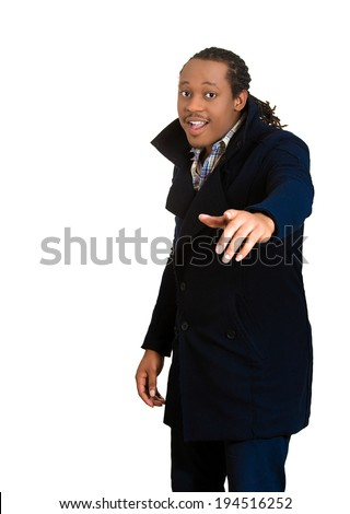 Closeup portrait handsome, successful business man, young happy employee, smiling worker, wearing black jacket, coat isolated white background.  - stock photo