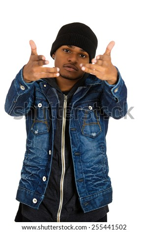 Closeup portrait handsome young man, posing fashion model, dressed in jeans, hoodie isolated on white background. Human face expressions, confidence body language, modern youth culture - stock photo