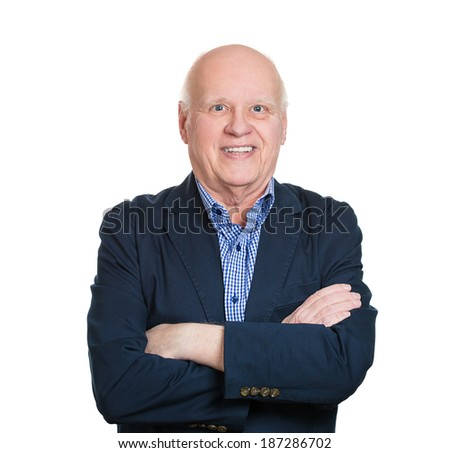 Closeup portrait, happy, confident, cheerful, bald, smiling senior mature man with arms crossed, isolated white background. Positive human emotions, facial expressions, feelings, attitude - stock photo