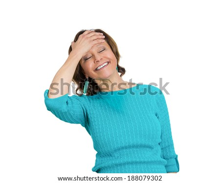 Closeup portrait happy cute, senior mature woman looking excited, surprised in full disbelief, hand on head, isolated white background. Positive human emotions, facial expression, perception - stock photo