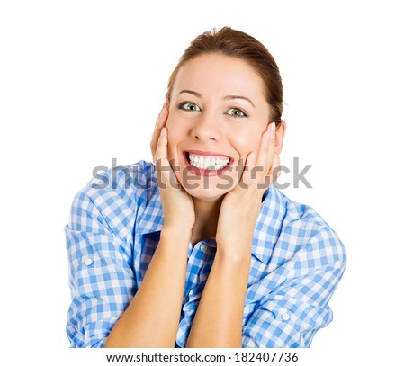 Closeup portrait happy, cute, young beautiful woman looking excited, surprised in disbelief, isolated white background. Positive human emotions, facial expressions, reaction, attitude, life perception - stock photo