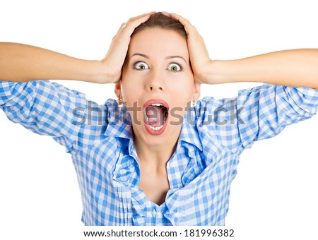 Closeup portrait happy, cute, young, funny looking woman, shocked, surprised, in full disbelief hands in air, isolated white background. Positive human emotion, facial expression, feeling, reaction - stock photo