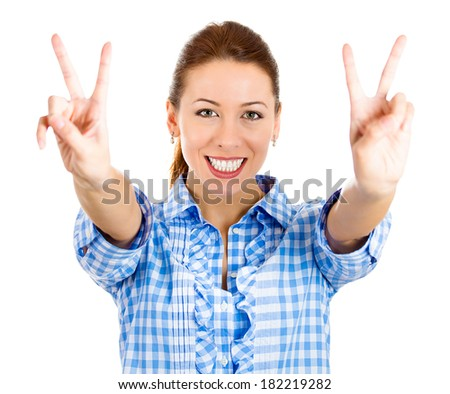 Closeup portrait happy, excited successful smiling young woman giving peace, victory, two sign, isolated white background. Positive emotions, face expressions, feelings, attitude, reaction, perception