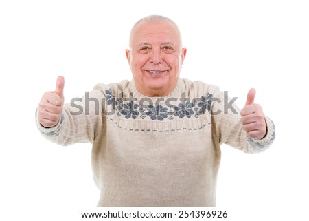 Closeup portrait, Happy smiling old man with white teeth, shows gesture two thumbs up on white. isolated on white background - stock photo