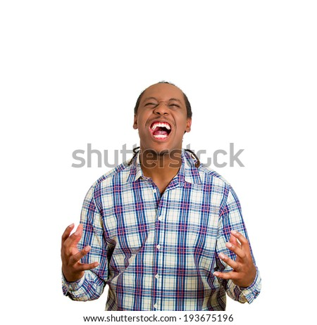 Closeup portrait, headshot angry man fists, arms raised wide open mouth, yelling, isolated white background. Negative emotion, facial expression, feeling, attitude perception. Conflict problems issues - stock photo