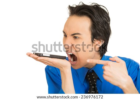Closeup portrait headshot angry young man, guy, student, mad worker, pissed off employee shouting while on phone isolated white background. Negative human emotion facial expression feeling attitude - stock photo