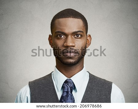 Closeup portrait, headshot, handsome happy, young, serious business man, confident student, real estate agent, isolated black grey background. Positive face expressions, emotions, feelings, attitude - stock photo