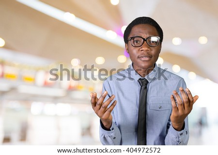 Closeup portrait headshot scared stressed worried, Anxious Businessman - stock photo