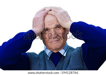 Closeup portrait, headshot senior, worried mature elderly man, old sad guy, grandfather, troubled, isolated white background. Human emotions, facial expressions, life perception, aging, depression - stock photo